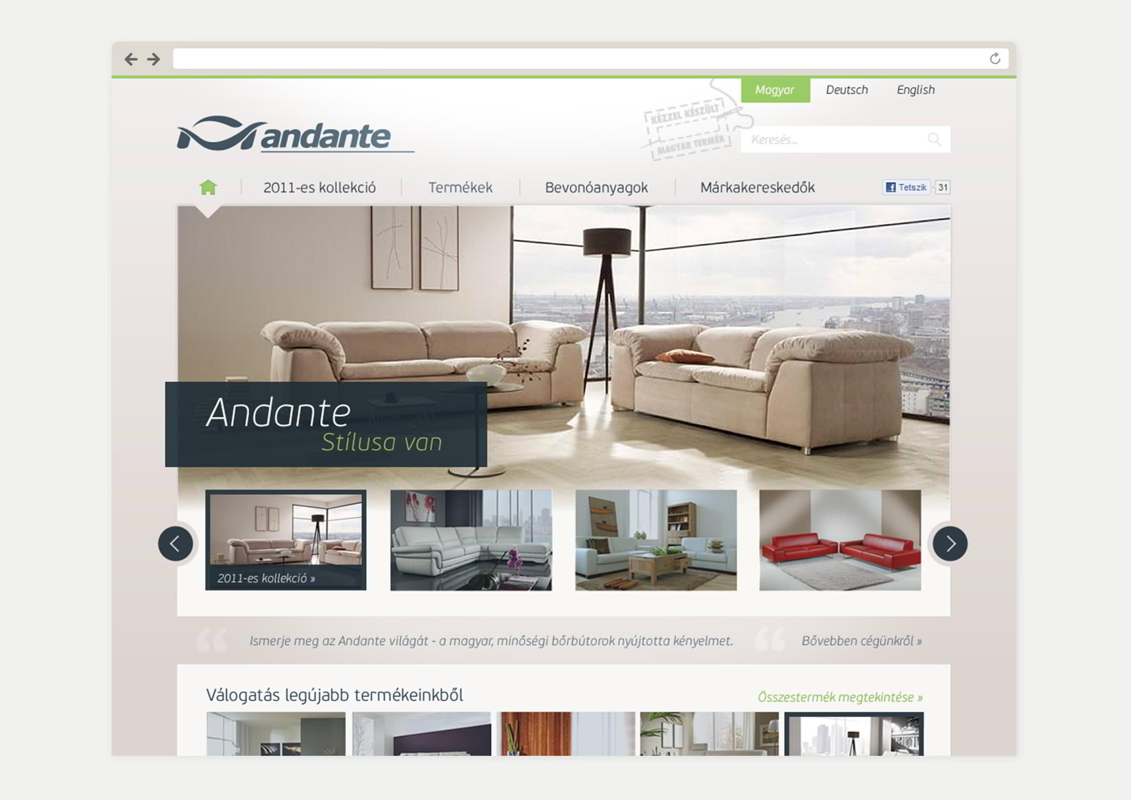 Kezdőlap webdesign - Andante