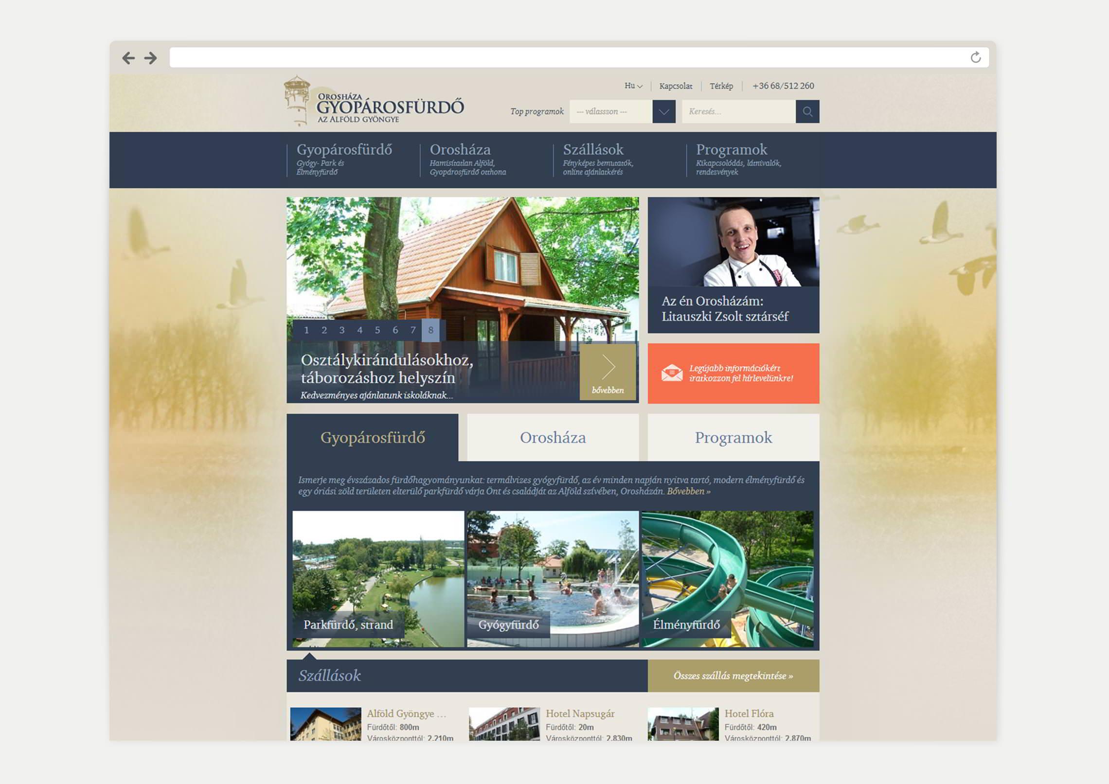 Főoldal webdesign tervezés - Gyopárosfürdő