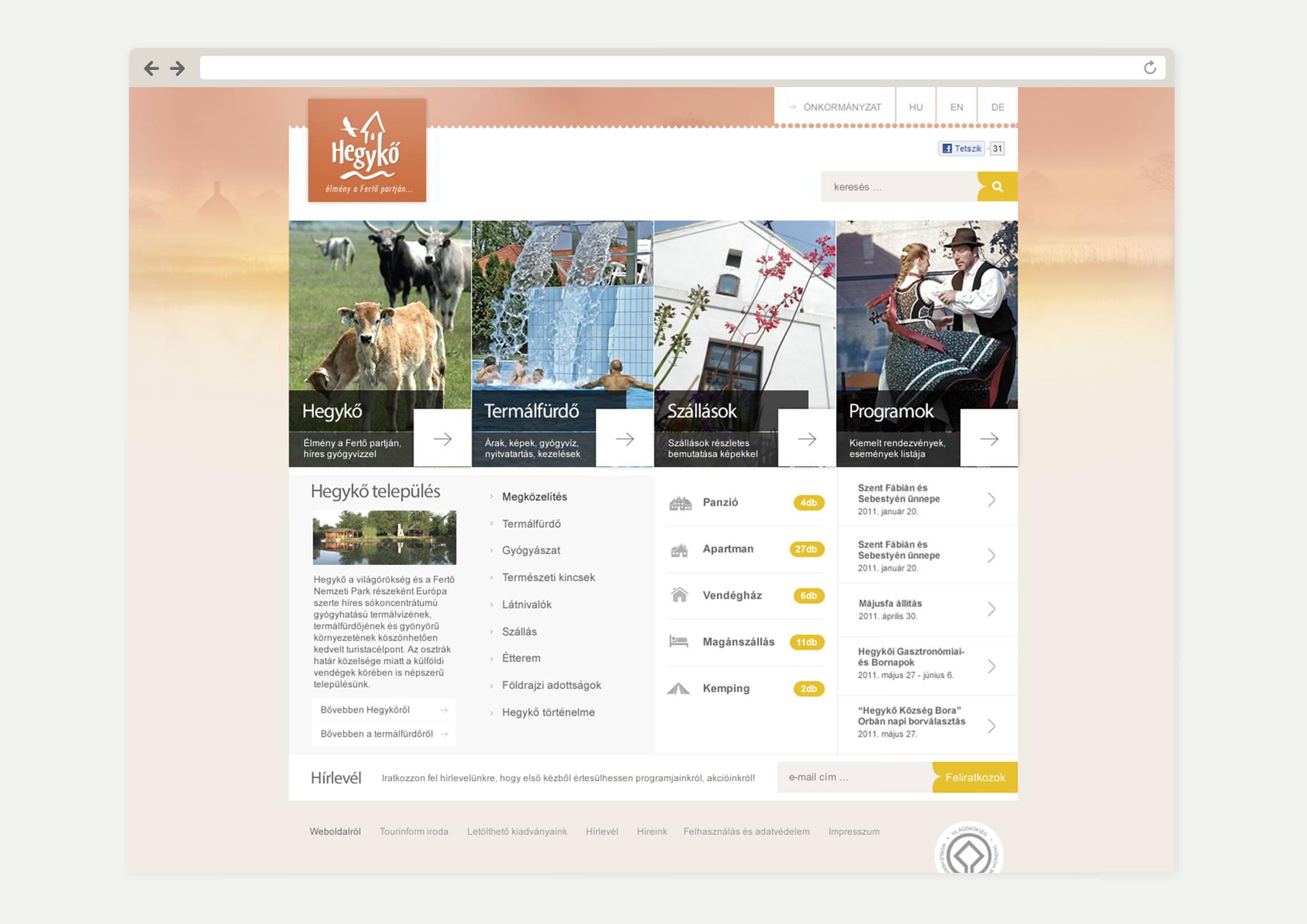 Kezdőlap webdesign - Hegykő Község