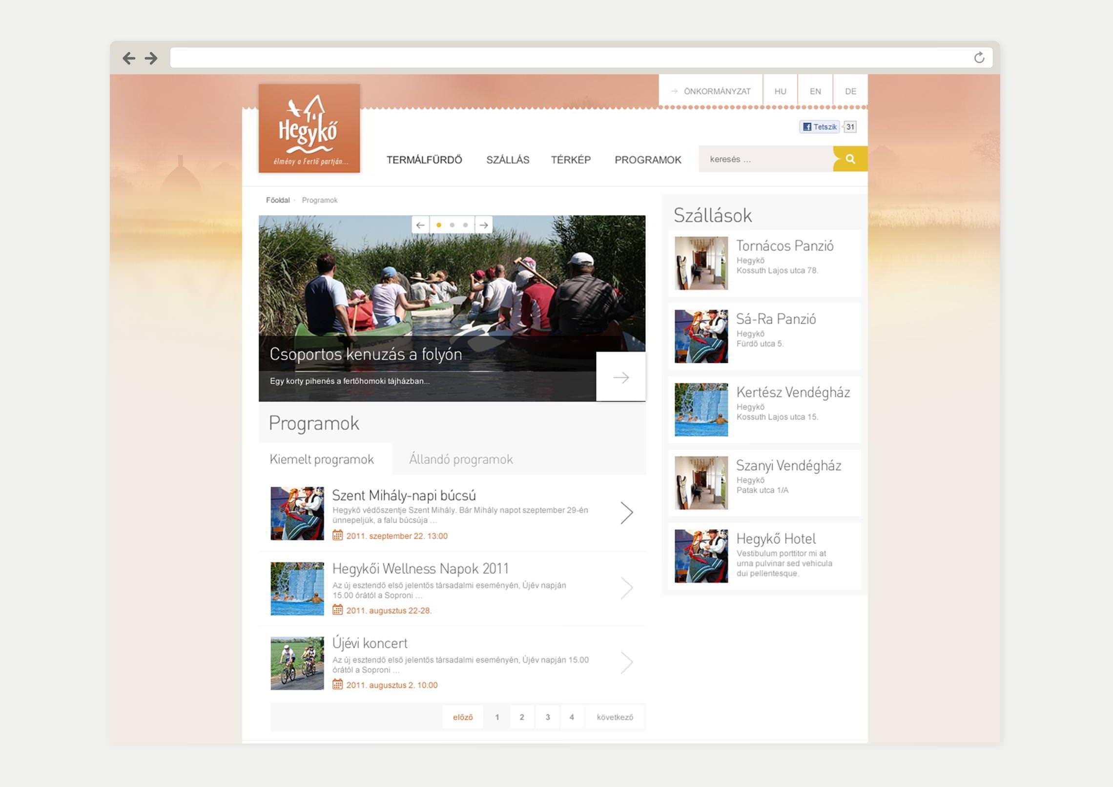 Programok aloldal webdesign - Hegykő Község