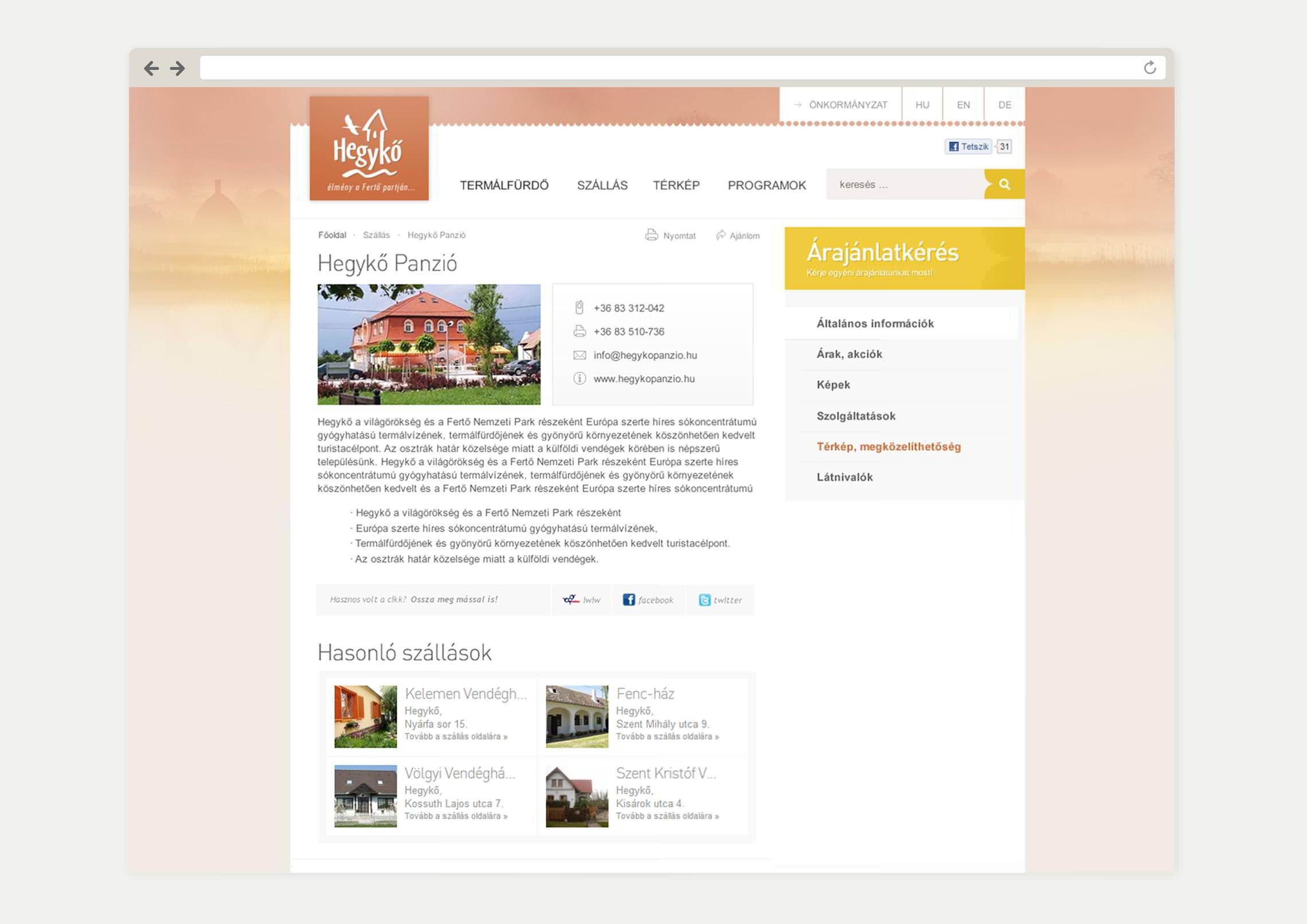 Szállások aloldal webdesign - Hegykő Község