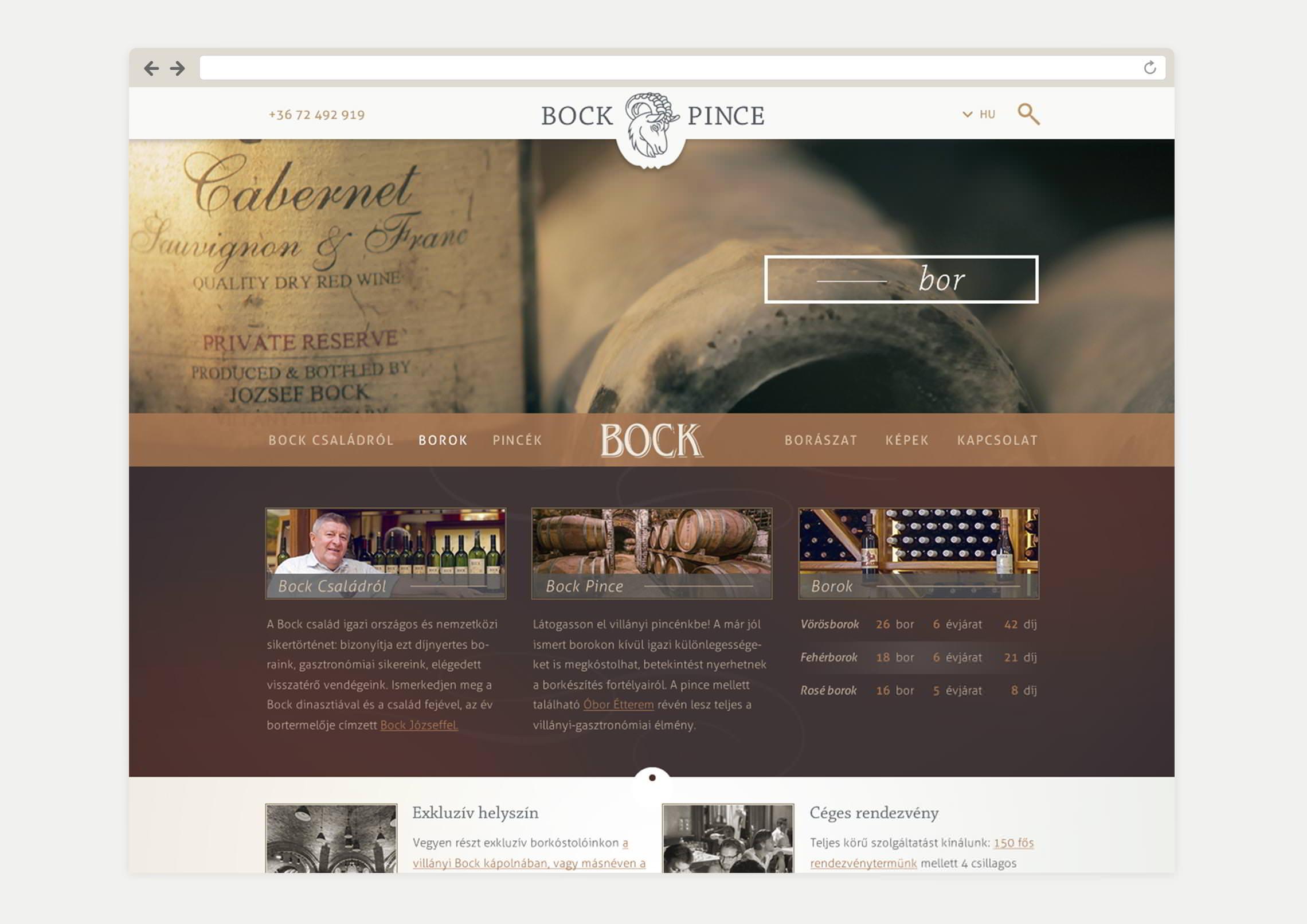 Weboldal készítés a Bock Pincének