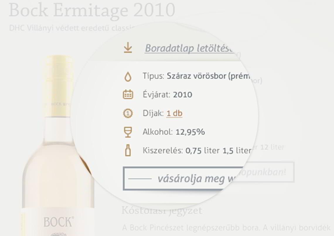 Egyedi grafikai eleme - Bock Pince weboldal