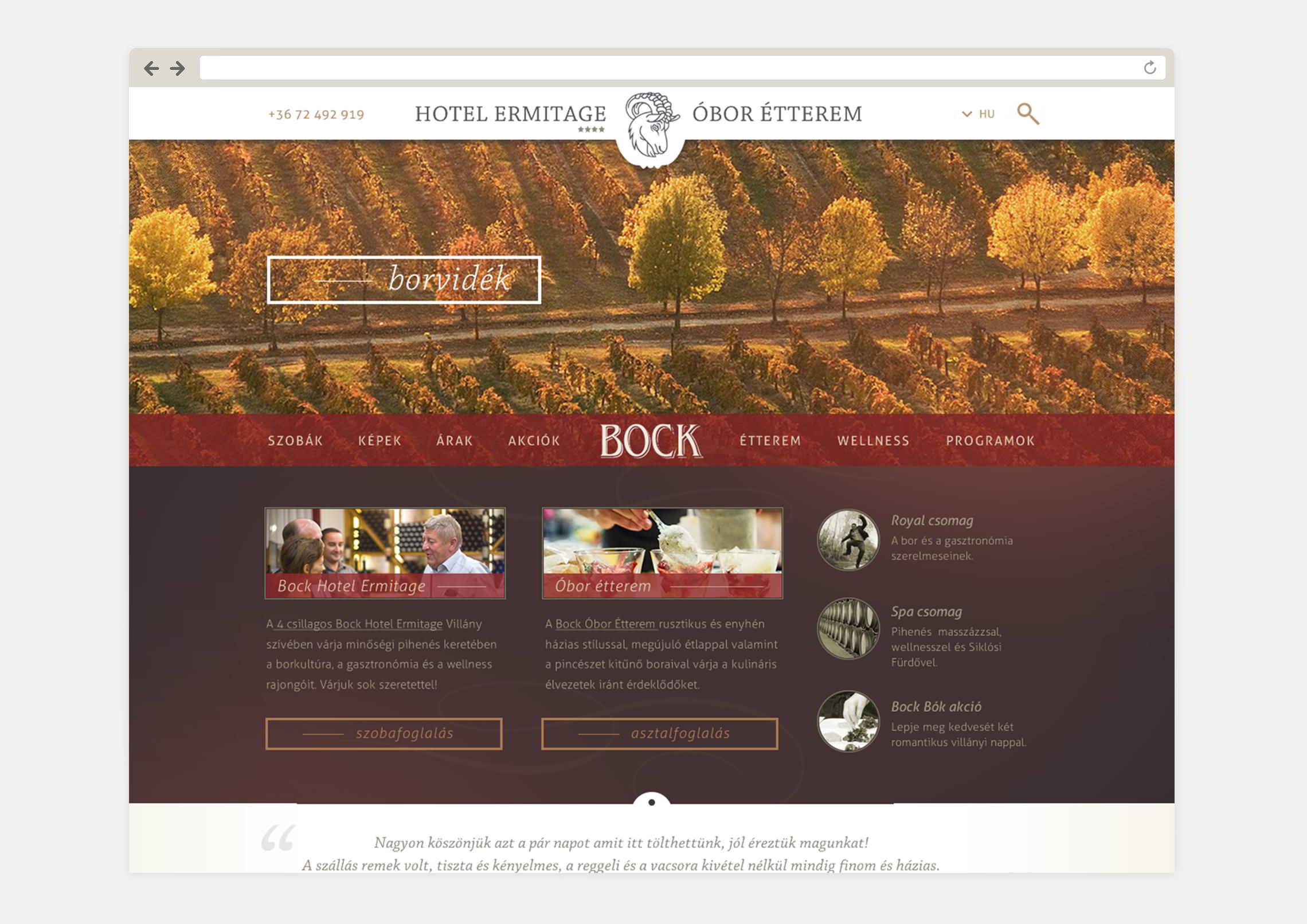 Weboldal készítés - Bock Hotel Villány